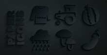 Set Mushroom, Watermelon, Cloud With Rain, Eggplant, Tractor And Sweater Icon. Vector