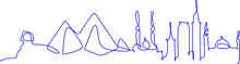 One Line  Cairo Skyline. Simple Modern Minimaistic Style Vector. One Single Line Drawing Of Cairo City Skyline, Egypt. Historical Town Landscape Postcard Print. Best Holiday Destination.