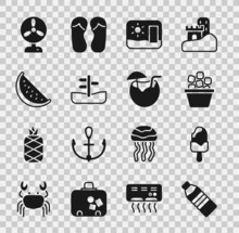 Set Bottle Of Water, Ice Cream, Bucket, Travel Postcard, Road Traffic Sign, Watermelon, Electric Fan And Coconut Cocktail Icon. Vector