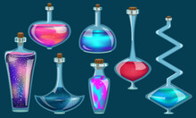 Vector Set Of Magic Colorful Multicolored Vials With Potion. Pink, Turquoise, Blue, Red, Purple, Indigo Vessels With Potion Of Different Shapes Isolated On Green Background. An Iridescent Shimmering P