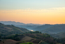 The Morning Time And View Of Landscape Mountain At Khao Kho In Thailand