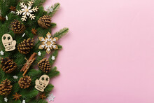 Christmas Background With Fir Branches And Christmas Decor. Top View, Copy Space For Text