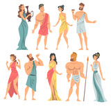 Greeks or Hellenes People Character in Ethnic Chiton Clothing Vector Illustration Set