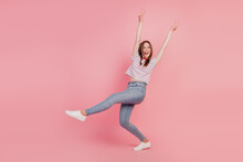 Portrait Of Carefree Crazy Funky Lady Dance Show V-signs Open Mouth On Pink Background