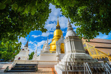 Wat Suan Dok Is A Buddhist Temple (Wat) At Sunset Sky Is A Major Tourist Attraction In Chiang Mai Northern Thailand.Travels In Southeast Asia,is Public Places