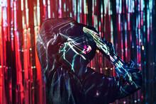 Cool Black Model In Ultraviolet Light Dancing In Nightclub
