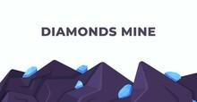 Vector Illustration Diamond Background. Mine Work. Mining Gemstones. Light Blue Vector Seamless, Isometric Layout With Diamonds.