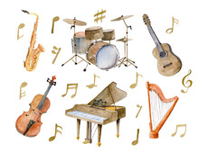 Watercolor Set With Music Instruments. Harp And Guitar For Invitations To The Music Day. Violin, Saxophone, Piano And Drum For Any Design. Notes On White Isolated Background