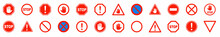 Red STOP Sign.Set Of Prohibition Sign.Stop Symbol.Stop Set Vector Sign With Hand. Hand Forbidden Vector Sign.Vector Stop Hand Sign.
