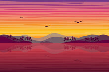 Sunset Over Tropical Island Landscape Background In Flat Style. Hills With Palm Trees, Sea Or Ocean Coast, Birds Fly, Purple Evening After Sunset. Nature Scenery. Vector Illustration Of Web Banner