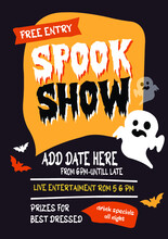 Spook Show Halloween Party Poster Flyer Social Media Post Template Design