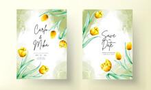 Wedding Invitation With Beautiful Yellow Watercolor Tulip Flower