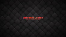 3D Vector Rhombus Blocks Grid Technological Dark Gray Abstract Background. Science Technology Conceptual Sci-Fi Darkness Wallpaper. Three Dimensional Blank Subtle Textured Black Friday Sale Backdrop