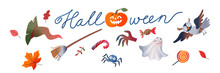 Halloween Set, Scary Ghost And Candy, Magic Witch Broom Hat, Cute Owl Spider Characters