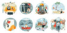 Sad Lonely People Set. Women And Men Alone And Depressed Vector Illustration. Unhappy Upset Girls And Guys At Home, At Party, Outdoor, Child And Elderly Lady. Loneliness And Despair