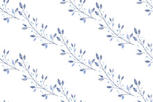 Winter Vector Watercolor Textured Blue Floral Seamless Pattern Background With Branches, Leaves, Snowflakes On White Backdrop. Festive Seasonal Christmas Texture.