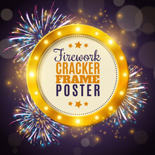 Firework Cracker Frame Colorful Background Poster