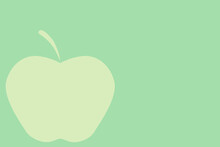 2d Illustration Of An Apple On A Green Background