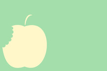 2d Illustration Of A Bitten Apple On A Green Background
