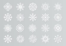 Paper Cut Snowflakes. White 3D Christmas Design Templates For Decoration And Greeting Cards. Vector Isolated Paper Snow Set
