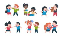 Kids Behavior. Cartoon Brother And Sister Fight Cray Play, Cute Little Boy Girl Happy Characters. Vector Funny Best Friend Children