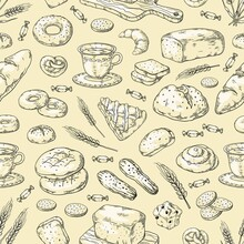 1903.m30.i130.n014.F.c06.250142509 Hand Drawn Bakery Pattern. Vintage Bread And Cakes Doodle Sketch Design Template, Sweet Pies And Cookies. Vector Bakery Set