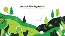 Gradient Plant Landscape. Minimal Flat Leaves Design, Color Gradation Cartoon Background, Forest Plants. Floral Nature Poster