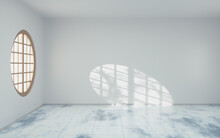 Empty Room With Round Wood Window, 3d Rendering.