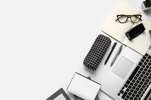Composition With Pencil Case, Stationery And Laptop On White Background