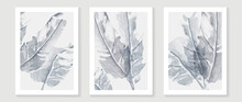 Tropical Blue Botanical Wall Art Vector. Abstract Art Background With Leaves And Watercolor Hand Painting Design For Wall Decor, Poster And Wallpaper.