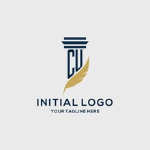 CU Monogram Initial Logo With Pillar And Feather Design