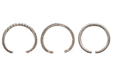 Set Of Antique Real Silver Bangles Isolated On White Background