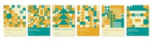 Happy 2022 New Year Abstract Geometric Card Design. Merry Christmas Invitation, Poster, Greeting Card.