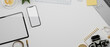 Leinwandbild Motiv Mockup space on white background surrounded by tablet, smartphone, equipment, 3d rendering