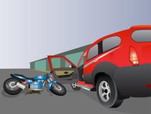 Vector Illustration: Bike Crash Due To Sudden Opening Of Car Door