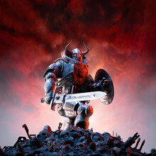 Futuristic Viking Warrior Battle - 3D Illustration Of Science Fiction Barbarian Robot Knight With Horned Helmet, Battle Sword And Shield Standing On Human Skulls And Debris