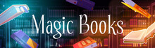 Flying Magic Books With Mystery Glow And Sparkles In Library With Bookcases. Vector Poster Of Literature Presentation, Festival Or Fair With Fantasy Cartoon Illustration