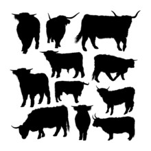 Highland Cow Animal Silhouettes. Good Use For Symbol, Logo, Web Icon, Mascot, Sign, Or Any Design You Want.