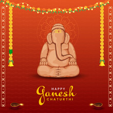 Happy Ganesh Chaturthi Celebration Concept With Lord Ganesha Statue Made By Soil On Orange Zigzag Lines Background.