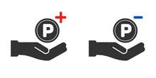-付きポイントコインと手のアイコンセット - 白黒・白バック:ポイントプログラムのルール素材