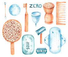 Watercolor Zero Wast Set On A White Background