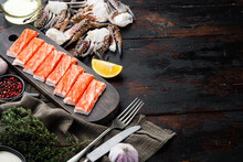 Crab Sticks Seafood Semi Finished Fish Mince With Blue Swimming Crab, On Dark Wooden Background, Top View Flat Lay  , With Copyspace  And Space For Text