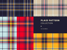 Plaid Pattern Collection With Red, Golden Yellow, Ice Blue