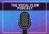 Composition of vocal flow podcast text with microphone and abstract blue line pattern