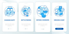 Infant Care Blue Onboarding Mobile App Page Screen. Mother Looking After Newborn Walkthrough 4 Steps Graphic Instructions With Concepts. UI, UX, GUI Vector Template With Linear Color Illustrations