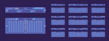 Server Modules Dark Set, Technology For High Performance Computing System. Desktops, Laptop Memory Component For Superior Speed, Hardcore Gamers, Data Loading. Vector Flat Style Cartoon Illustration