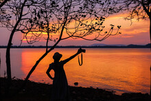 Tropical Beach Seaside On Sunset Time At Laem Hua Mong - Kho Kwang Viewpoint In Chomphon Province Thailand With Silhouette Girl Photography