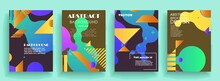 Modern Abstract Covers Set, Modern Colorful Wave Liquid Flow Poster. Cool Gradient Shapes Composition, Vector Covers Design.