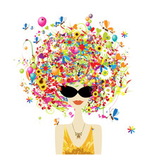 Holiday Concept. Floral Female Portrait, Pretty Woman In Sunglasses. Design For Fashion Cards, Banners, Posters