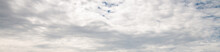 Panoramica Con Cielo Nuvoloso Per Uso Web Banner. Moody Cloudscape Before Rain. Gray And White Clouds